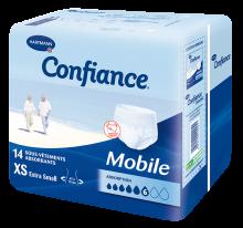 Photo d'un packaging contenant des sous-vêtements absorbants pour incontinence urinaire modérée à lourde des personnes mobiles, taille XS de la marque Confiance Mobile
